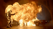 Bridgit Pike being caught on fire