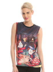HT GRAVITY FALLS FOREST SUBLIMATED GIRLS MUSCLE TOP