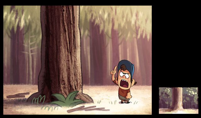 File:Joe Pitt Early style test of Dipper and the woods.jpg