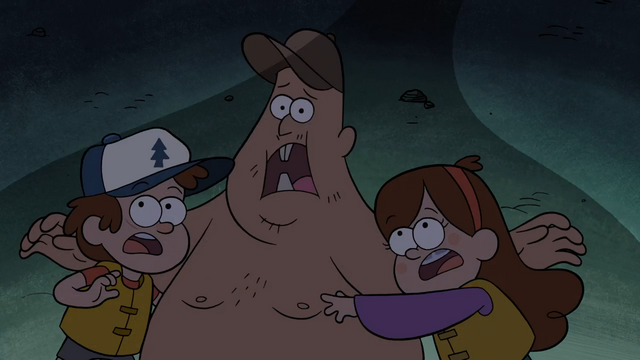 File:S1e2 dipper mabel and soos frightened.png