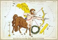 Sidney Hall - Urania's Mirror - Sagittarius and Corona Australis, Microscopium, and Telescopium