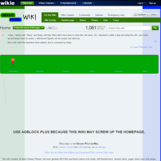 The Greeny Phatom Wiki layout before it closed down (November 1, 2013 - December 9, 2013)