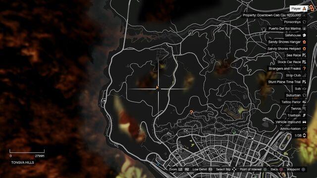23 Tongva Hills Cave Mapjpg GTA Wiki FANDOM Powered By Wikia