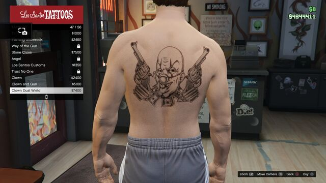 File:Tattoo GTAV Online Male Torso Clown Dual Wield.jpg