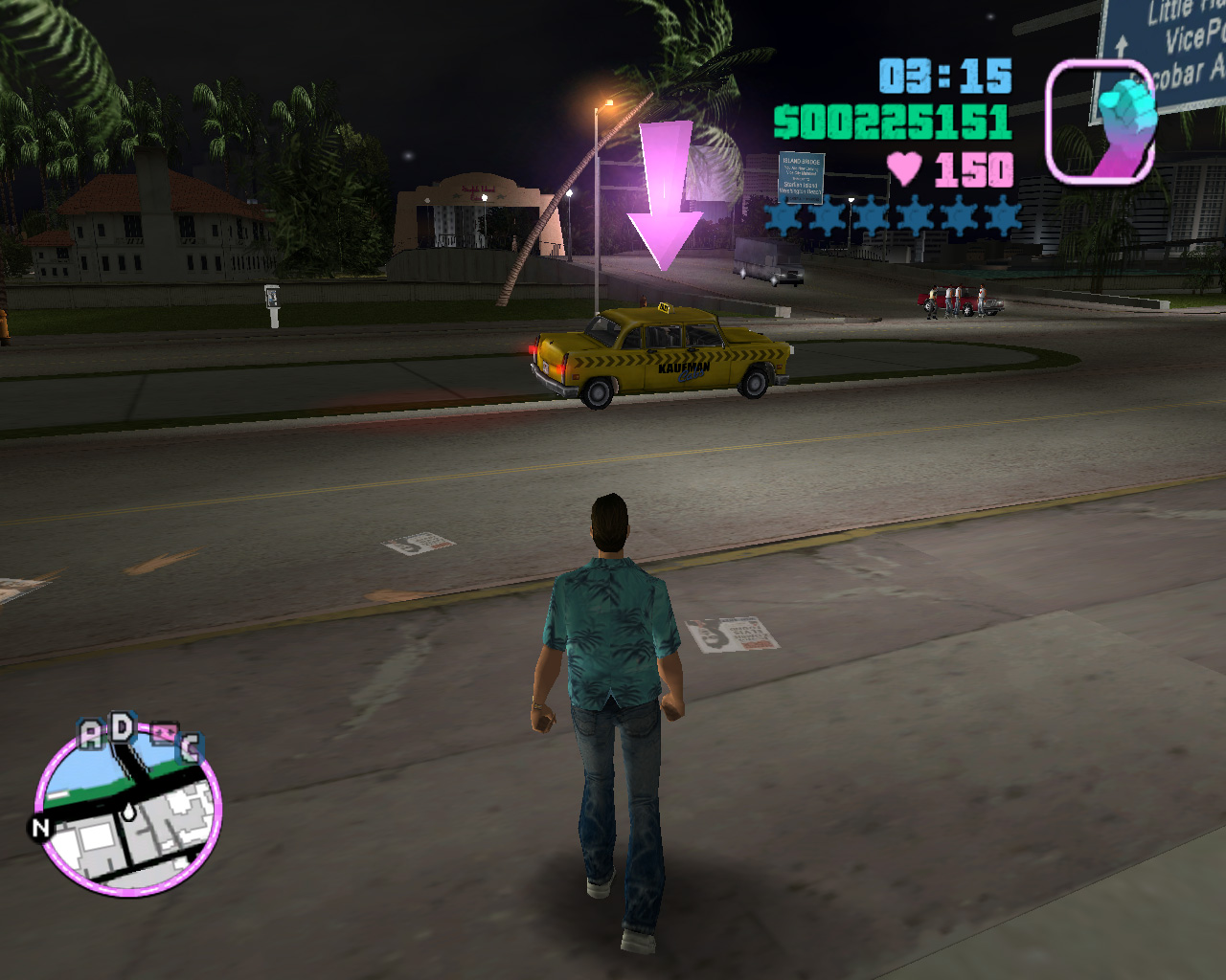 A Kaufman Cab In Gta Vice City Waiting In Front Of A Hospital To Take The  Player To The Trigger That Activates The Last Mission The Player Attempted,