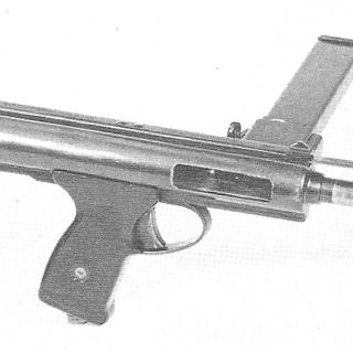 The BSA Machine Carbine Mk.I, with the sleeve cocked.