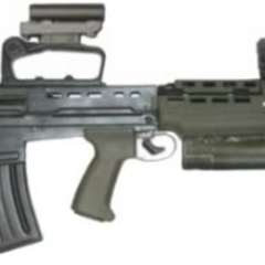 Police/special forces variant with an underbarreled flashlight and optical sight.