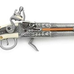 A revolving flintlock replica.