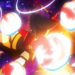Super Galaxy Gurren Lagann resisting the planets thrown at it
