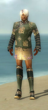 Mesmer Elite Canthan Armor M gray chest feet front