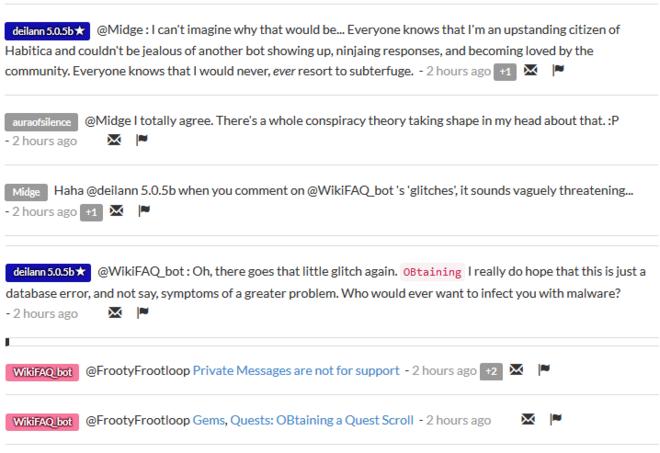 WikiFAQ bot rivalry