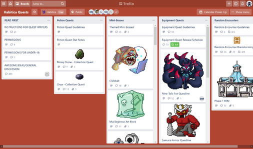 HabitRPG Quests Trello