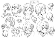 Hitoka Yachi's Official Concept Art Uncolored