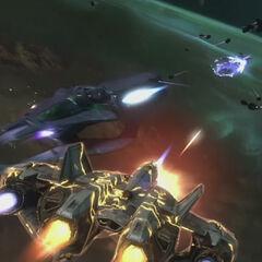 一架军刀的能量护盾在战斗中被击中。