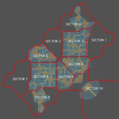 Eine Karte von Neu Mombasa in Halo 3: ODST