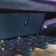 Plasma Kanonen an der Bordwand einer Allianz Korvette