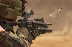 Soldier rifle firing bullet shell smoking