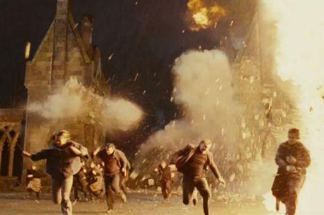 Hogwarts castle on fire