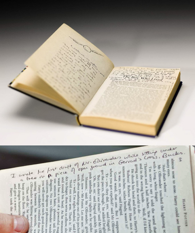 File:First edition of PS annotated by Rowling autionned and then exhibited2.png