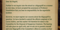 Hogwarts School Governors' letter to Rubeus Hagrid