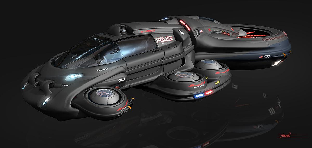 image futuristic hover car police cruiser concept vehicle hover car ferrari. Black Bedroom Furniture Sets. Home Design Ideas