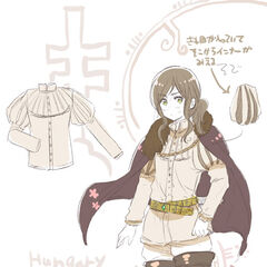 A younger Hungary in an outfit from Volume 3 of the Hetalia manga.