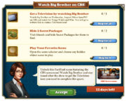 Quest Watch Big Brother on CBS!-Tasks