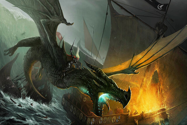 Archivo:Visenya on her dragon Vhagar by John McCambridge©.jpg