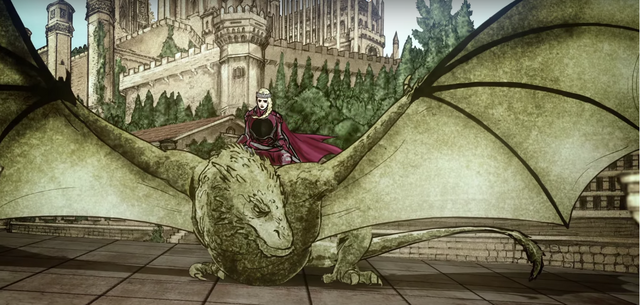 Archivo:Rhaenyra and Syrax in King's Landing by Histories & Lore HBO.png
