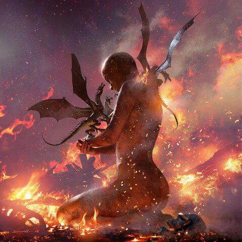 Archivo:Daenerys y los dragones by Michael Komarck©.jpg