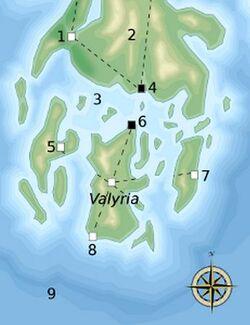 Mapa Valyria y alrededores