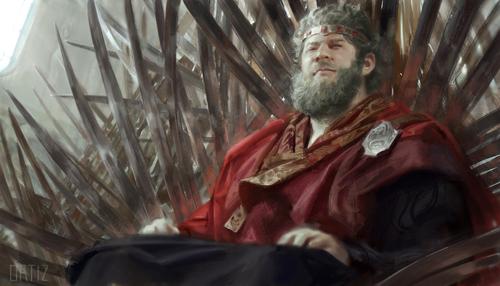 Archivo:King Viserys I upon the Iron Throne by Karla Ortiz©.jpg