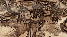 El último rey del Norte (Thorren Stark) arrodillado ante Aegon el conquistador.jpg