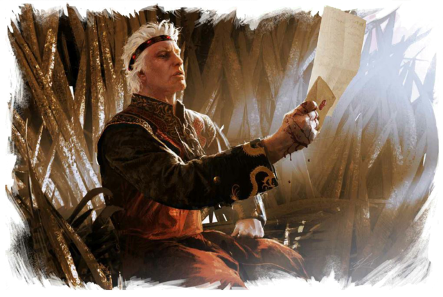 Archivo:Aegon the Conqueror reading the Prince of Dorne's missive by Michael Komarck©.png