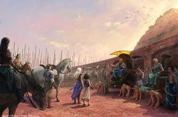 Daenerys sets the slaves free by Joshua Cairós, Fantasy Flight Games©
