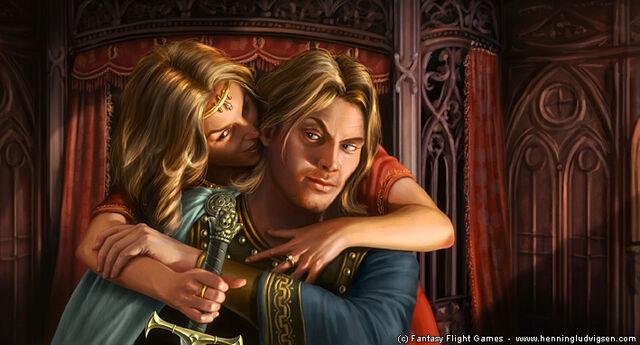 Archivo:Jaime and Cersei by Henning Ludvigsen, Fantasy Flight Games©.jpg