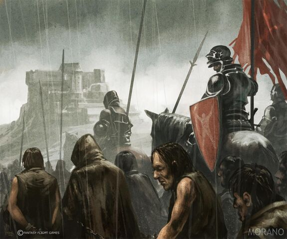 Archivo:Prisioners marching to the Dreadfort by Tomasz Jedruzek, Fantasy Flight Games©.jpg
