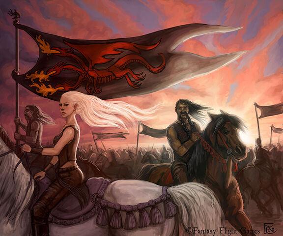 Archivo:Queen Daenerys' Horde by Felicia Cano, Fantasy Flight Games©.jpg