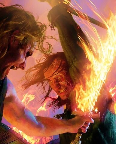 Archivo:Sandor Clegane versus Beric Dondarrion by Michael Komarck, Fantasy Flight Games©.jpg