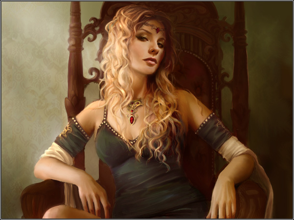 Archivo:Cersei Seated by Katherine Dinger, Fantasy Flight Games©.jpg