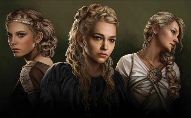 Archivo:Elaena, Rhaena, and Daena Targaryen by Magali Villeneuve©.JPG