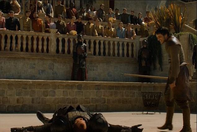 Archivo:Oberyn tumba a la Montaña HBO.jpg