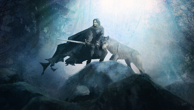 Archivo:Jon snow and ghost by guillemhp-d4dbevl.jpg