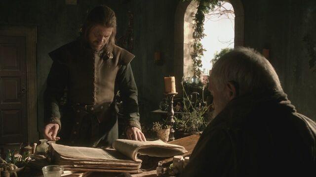 Archivo:Eddard encuentra libro HBO.jpg