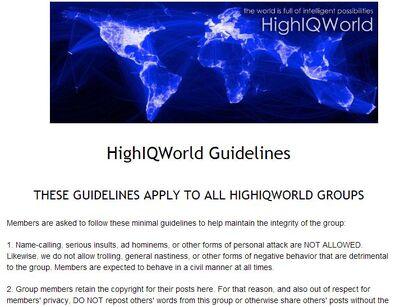 HighIQWorld Guidelines Screen Shot