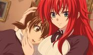 Rias embracing Issei