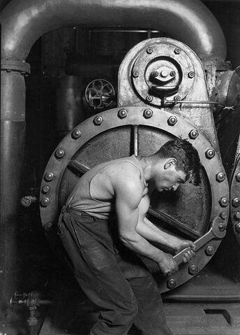 File:431px-Lewis Hine Power house mechanic working on steam pump.jpg