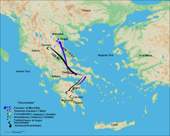 Route of Karanos to establish his own kingdom