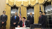 President Hitler signs his first executive order