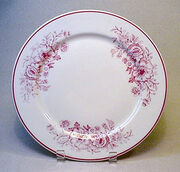 CARIBE CHINA red floral patterned dinner plate - Vintage RESTAURANT WARE china
